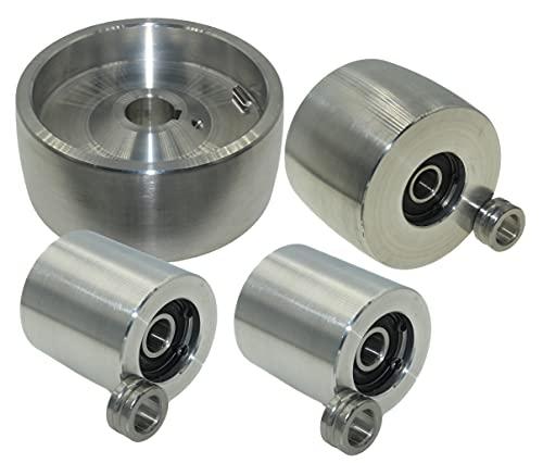 (AL5-24) CNC gefrästes Riemenschleifer Set für Messerschleifer 130 mm Antrieb-24 mm Schaft 75 mm Spur 50 mm Idler
