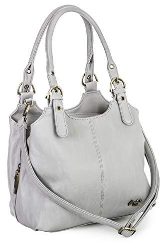 Mabel London Amelia Damen-Handtasche mit mehreren Fächern, mittlere Größe, mehrere Fächer mit langem Schultergurt Gr. One size, hellgrau