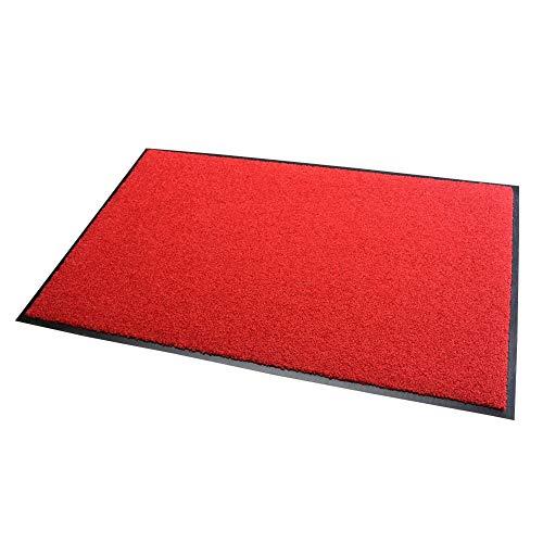 acerto 30207 Alfombrilla antisuciedad Premium Zanzibar Rojo 90x120cm * Extremadamente Resistente * Exterior e Interior * Resistente a Las heladas * Libre de PVC - Limpia Puerta de Entrada Alfo