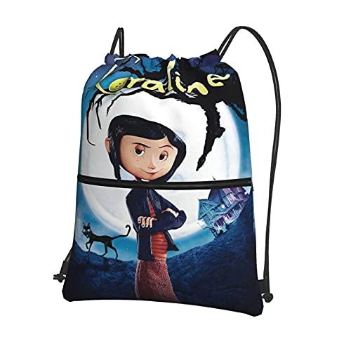 Co-raline - Bolsa con cordón, grande, para gimnasio, mochila deportiva, impermeable, para mujeres, hombres, niños y niñas