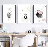 3 Imprimir ilustraciones Arte de la pared Decoración Tamaño completo/marco/patrón fresco/Dibujos animados animal búho Impresión de arte 3 unids/set lienzo póster pintura arte de pared moderno p