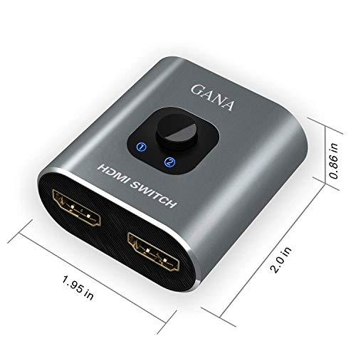 HDMI切替器、GANAHDMI分配器双向セレクター1入力2出力/2入力1出力4K/3D/1080P対応手動切替WIIWIIUXboxPS4HDTV適用