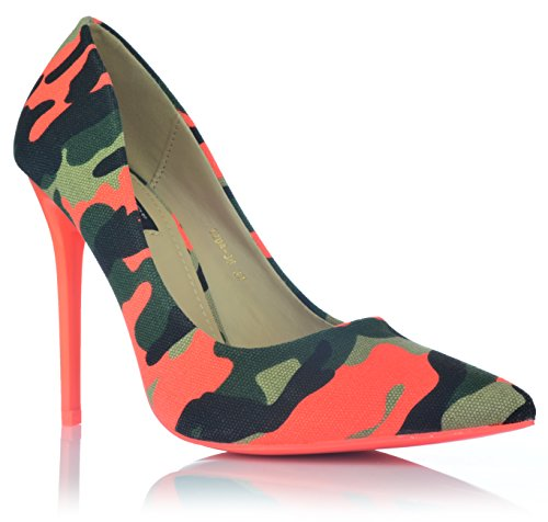 Camouflage High Heels Stiletto Pumps Neonfarben Abendschuhe Party Tarnung 35-40 EUR 36 Orange