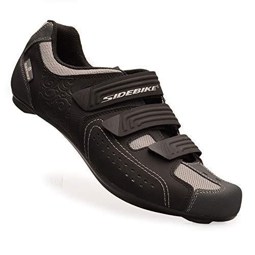 [SIDEBIKE] ビンディングシューズ ロード バイク スポーツ 自転車 サイクリング シューズ SD013-RD ブラック/グレー 42 (27.0cm)