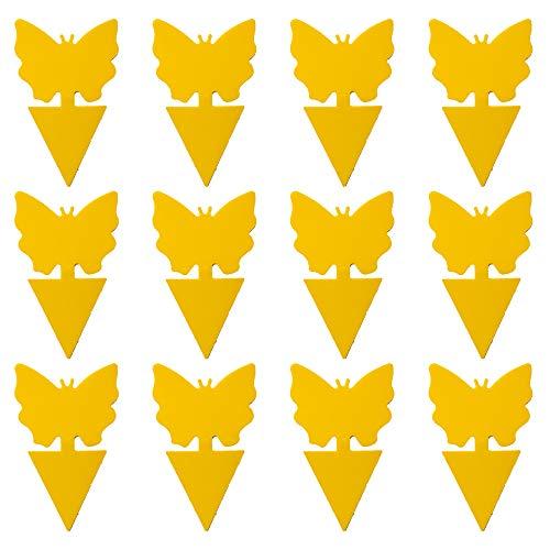 LACKINGONE Fliegenfallen Gelbsticker Insektenfalle Fruchtfliegenfalle Klebefalle für Pflanzen, Blumen, Gemüse, Obst (12 Stück Schmertterling Form)