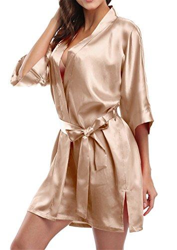 Giova Pure Color Satin Short Silky Bathrobe Sleepwear Nightgown Pajama,Champagne,XX-Large