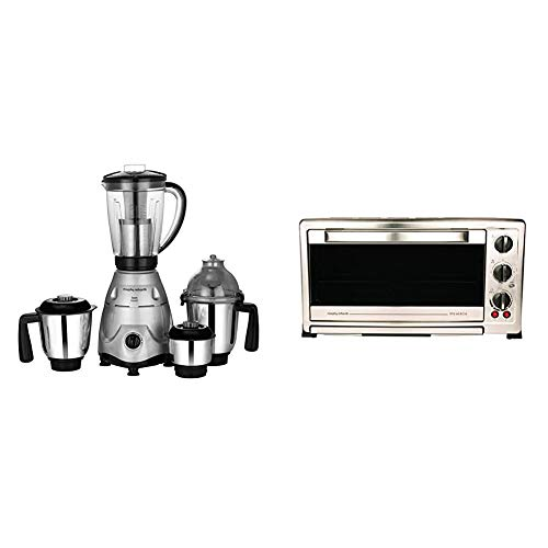 Morphy Richards Icon Superb 750 Watts Mixer Grinder with 4 Jars (Silver/Black) & Morphy Richards 60 RCSS 60-Litre Oven Toaster Grill (Black/Silver)