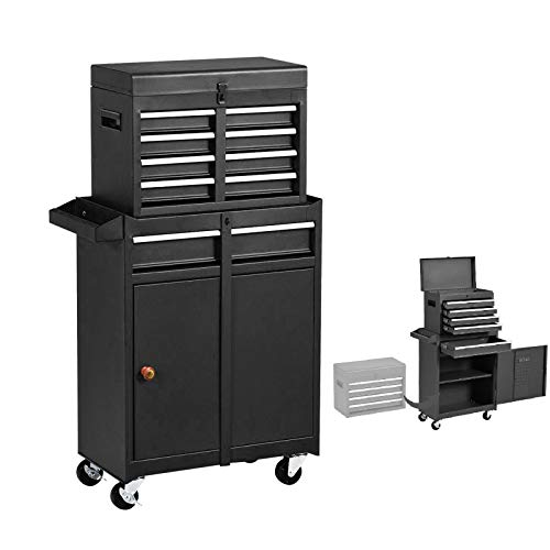 5-Drawers Tool Chest Tool Box, Rolling Tool Chest with Wheels, Large Capacity Tool Box with Drawers, Detachable Tool Cabinet Organizer, Mobile Toolbox for Workshop Garage (Black)