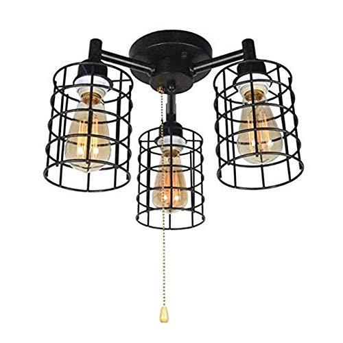 Retro Deckenleuchte Restaurant LED Deckenlampe mit Zugschalter, Schwarze Schmiedeeisen Käfig Pendelleuchte Innen Decken Lampen Dekorative Beleuchtung für Wohnzimmer/Schlafzimmer/Küche/Foyer (E27 x 3)