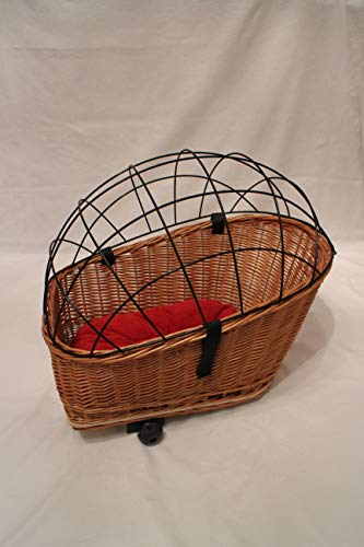 Marcus´ Weidenhandel Buffy–Hundefahrradkorb for pannier rack with Metal Bars and Pillow Natural XL or XXL Pannier Bag Willow Dog Basket Animal Basket Willow