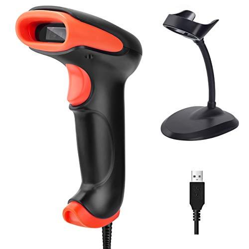 Tera 1D 2D QR Wired Barcode Scanner USB 2.0 Kabelgebunden Barcode-Scanner CMOS Barcodelesegerät für Bildschirm mit Halterung Ständer, 711-Z
