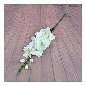 Silk Flower Arrangements YYJHT 2020 New Realistic 1Pc Artificial Simulation Gladiolus Flower Stem Wedding Bouquet/Posy Table Arrangement Home Decor 8 Colors (Color : White)