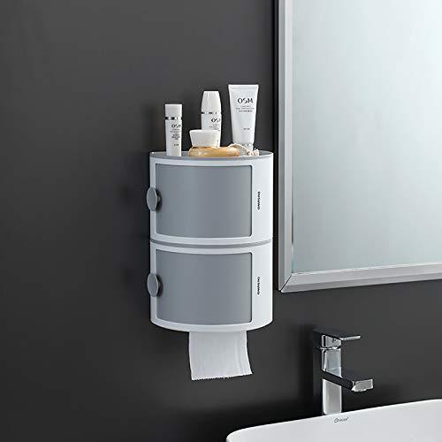 HAOGUT 2er Set Toilettenpapierhalter ohne Bohren mit Ablage & Deckel, Bad Organizer Stapelbox Klopapierhalter WC Rollenhalter selbstklebend wasserdicht Badezimmer Aufbewahrung Hängeregal Wand