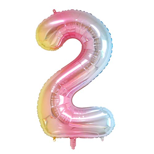 40 Inch Number Balloons Rainbow Helium Foil Mylar Digital Balloons for Party Decorations Supplies