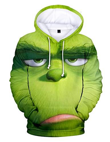 QYIFIRST Sudadera unisex con estampado 3D de anime, con capucha, para Navidad, cosplay, disfraz para hombre y mujer, color verde-C 4XL (pecho 122 cm)