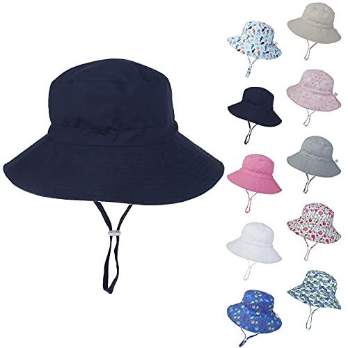 Sombrero de Sol Unisex para Bebé Sombrero Verano con Protección Solar para Bebé Gorro de Playa ala Ancha Ajustable para Exteriores Gorro de Bebé con Estampado Lindo XS-M