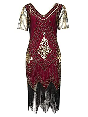 1920s Flapper Dress Vintage Sequin Fringed 20s Gatsby Costume Dress
