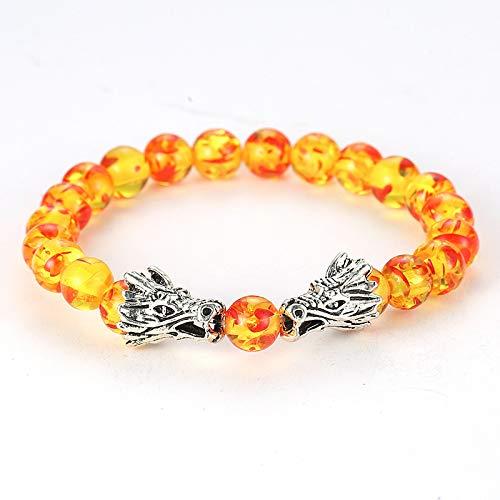 Naturstein Gold Sand Stein Perlen Armband Malachit Silber Double Dragon Spiel Perlen Design Charm Armreif Für Männer