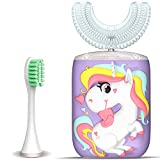 Kids Toothbrush Electric, U Shaped Ultrasonic Autobrush Toothbrush with 2 Brush Heads, Six Cleaning Modes, Cartoon Modeling Design for Kids, Special for Birthday Gift (Purple)