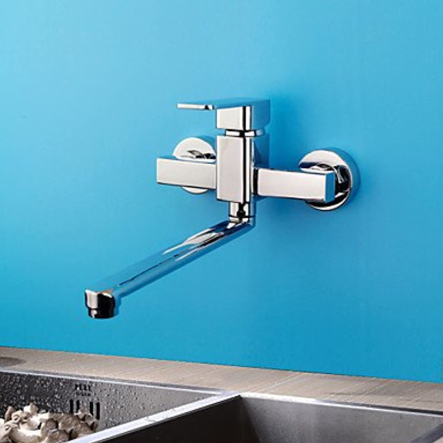 Von YIRUI Single Cold Wallmouunt Kitchen Faucet, sliver