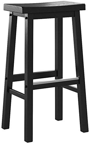 Amazon Basics Classic Solid Wood Saddle-Seat Kitchen Counter Stool with Foot Plate 29 Inch, Black, Set of 2