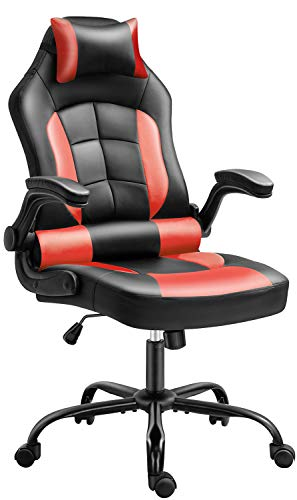 Gaming Chair, Cadcah Ergonomic Computer Chair Reclining High Back Office Chair Height Adjustment Desk Chair with Armrests Headrest and Lumbar Support PC Gaming Chair for Adults Teens Men Women (Red)