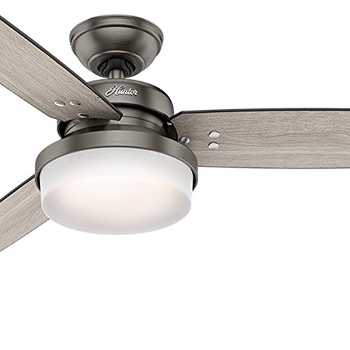 Hunter Fan 52 inch Brushed Slate Contemporary Ceiling Fan with LED Light Kit and Remote Control (Renewed)