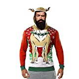 Luckycat Hombre Sudadera con Capucha de Felpa Christmas Plus, Costuras con Estampado de Alces Navideños Camisetas de Manga Larga Chaqueta Informal de Otoño E Invierno de Gran Tamaño