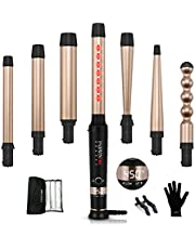 Curling Iron Wand Set 7 in 1, PARWIN Ceramic Curling Wand Set LED Temperature Adjustable with 7 Interchangeable Hair Wand Ceramic Barrels, Anti-scalding Tip (0.5'' to 1.25'') and Heat Resistant Glove