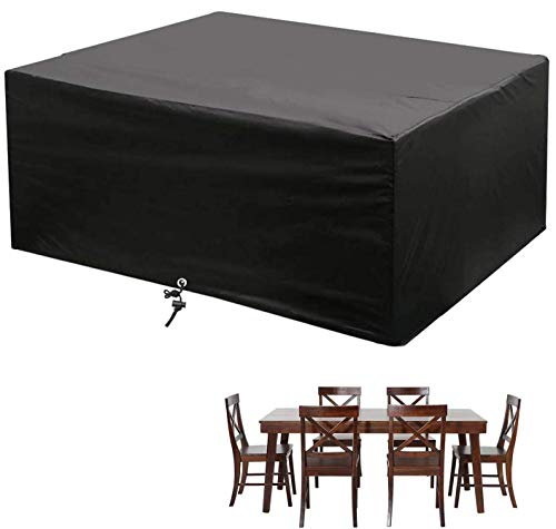 HYISHION Funda Muebles de Jardín Funda Bistrot Mesa Sillas Café Exterior Impermeable Resistente,Negro,308 * 138 * 89cm