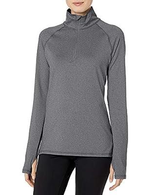 Hanes Women's Sport Performance Fleece Quarter Zip Pullover, Black Heather, XL