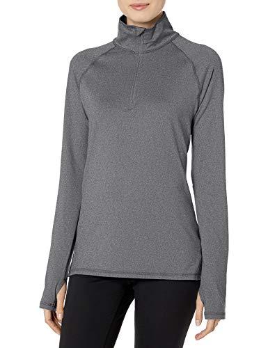 Hanes Women's Sport Performance Fleece Quarter Zip Pullover, Black Heather, M