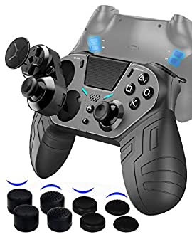 【August 2021 Newly Updated Version】 PS4 Controller with 3 Programmable Back Buttons and 1 Sensitivity-Control Back Button Game Controller Remote with Turbo/Gyro/HD Dual Vibration/Touch Panel/LED