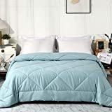 LEISURELY COLLECTION Comforter Bed Quilt All Season 100% Cotton Quilted Comforter Lightweight Summer Comforter Soft Breathable Fluffy Comforter (Miami Blue, Twin)