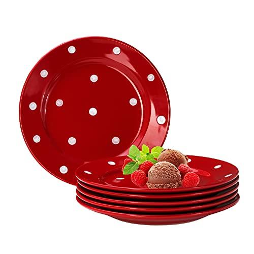 Van Well Emily 6er Set Kuchenteller rot-weiß gepunktet, rund Ø 200 mm, Steingut Teller rund, Dessertteller