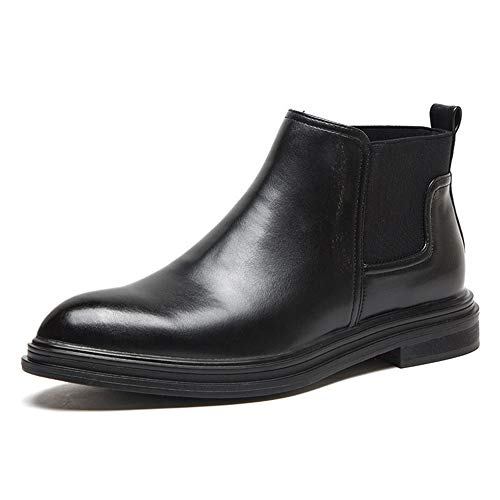 Battle Men Chelsea Boot for Men Ankle Boots Pull on Microfiber Leather Burnished Style Pointed Toe Non-Slip Elastic Band (Fleece Lined Option) Fashion (Color : Black-Fleece Inside, Size : 6.5 M US)