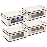 mDesign Juego de 4 cajas de almacenamiento – Organizador apilable grande y de...
