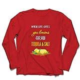 lepni.me Camiseta de Manga Larga para Hombre Cuando la Vida te da Limones coge el Tequila y Cita la Sal (S Rojo Multicolor)