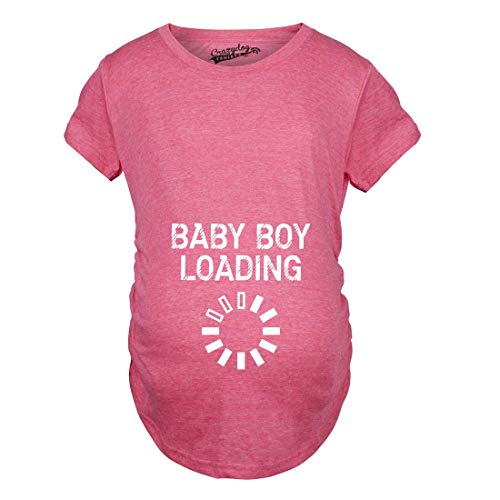 Crazy Dog Tshirts - Maternity Baby Boy Loading Funny Nerdy Pregnancy Announcement T Shirt (Pink) - 3XL - Femme
