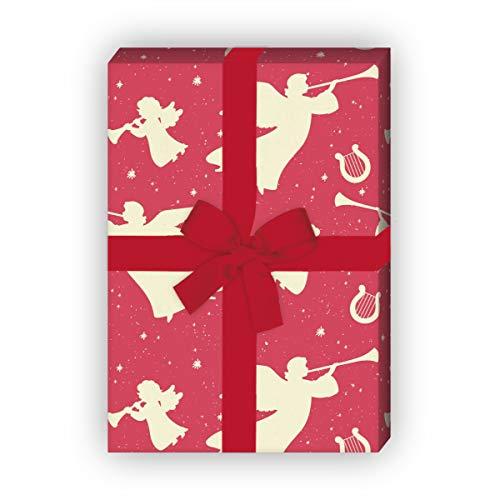 Kartenkaufrausch Rotes Grunge Retro Weihnachtspapier mit Engeln und Harfen, für liebe Geschenk Verpackung zum Einpacken 32 x 48cm, zu Weihnachten Adventszeit, universal Geschenkpapier