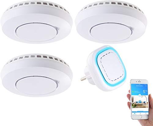 VisorTech Rauchmelder Set: Funk-Warnsystem WMS-250.hrg: WLAN-Gateway mit 3 Hitze-/Rauchmeldern (Feuermelder WLAN)