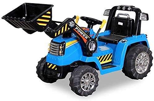 Actionbikes Motors - Ruspa - Escavatore elettrico con benna per bambini con motore 2 x 25 Watt - telecomando da 2,4 Ghz - bambini da 3 - 6 anni (Blu)