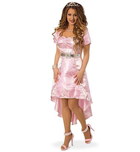KarnevalsTeufel Damenkostüm Prinzessin, Königstocher, zauberhaft, Kleid in rosa mit Gürtel, Karneval, Mottoparty (36)