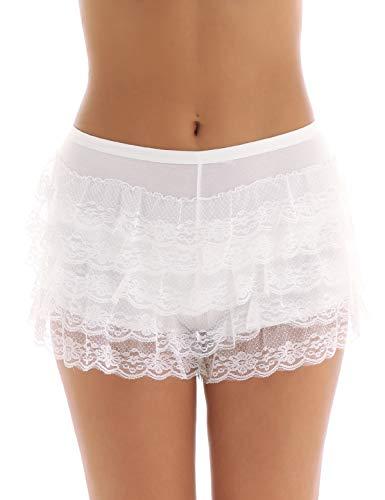 Agoky Damen Unterhose Unterrock Shorts langes Bein Schlüpfer Slip mit Rüschen Spitze Sicherheits Shorts Unterwäsche Leggings Kurz Hose Yoga Tanzen M-XL Weiss B M