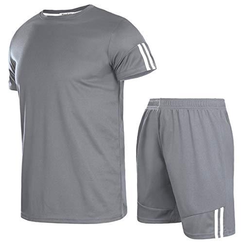 Aibrou Herren Kurzarm Sportswear Set Männer Schnell Trocknend Laufendes T-Shirt Trainingskleidung Jersey Fußball Set Dunkelgrau M