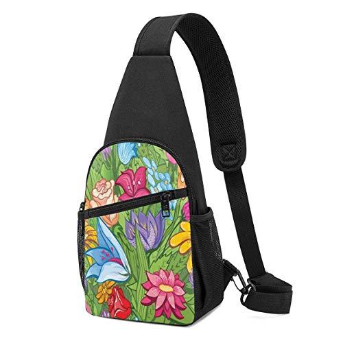 DJNGN Vintage Floral Beautiful Flowers Garden Sling Bags Pecho multiusos Crossbody Bolso de cuerda Mochila de hombro Ligero Divertido Mochila pequeña Mini organizador de viaje Bolsas para hombres Muje
