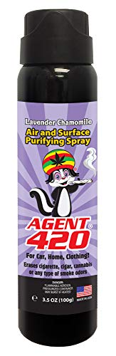 "Agent 420-3.5 oz Cannabis Odor Destroying Spray for Eliminating Pot Smoke, Cigarette or Most Unwanted Odors in Your House, Car or Apartment, Freshen Up The ""Joint!"" (Lavender Chamomile, 1 Bottle)"