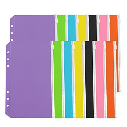 NeeyBing 14 bolsillos para carpetas tamaño A6, 6 agujeros, con cremallera, para carpetas de 6 anillas, bolsas de hojas sueltas, bolsa de PVC impermeable para archivar documentos, multicolor