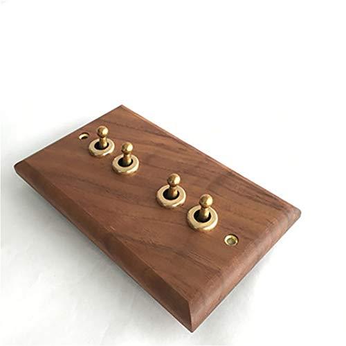 2 uds, Panel de nogal negro americano, palanca de latón, antiguo interruptor de madera maciza Retro, enchufe 86, tipo de interruptor Four open dual contr