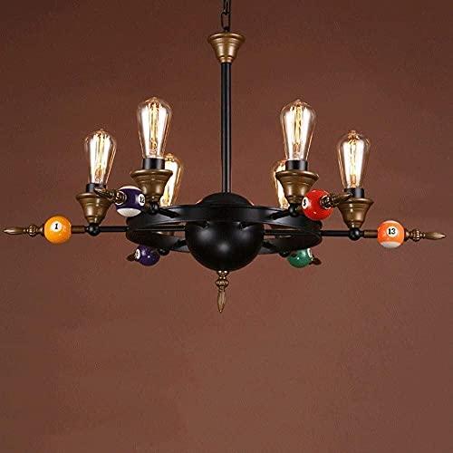LLLKKK Lámpara de techo industrial vintage de metal, personalidad, creativa, decoración de billar, para restaurante, salón (color: 4 luces)
